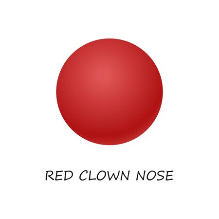 Red clown nose.  Red vector clown nose ball .