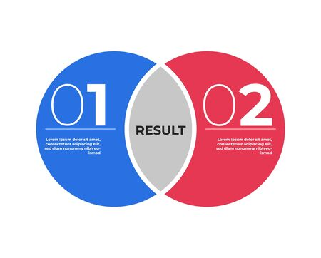 Venn diagram infographic template . Two circles merge . Ilustrace