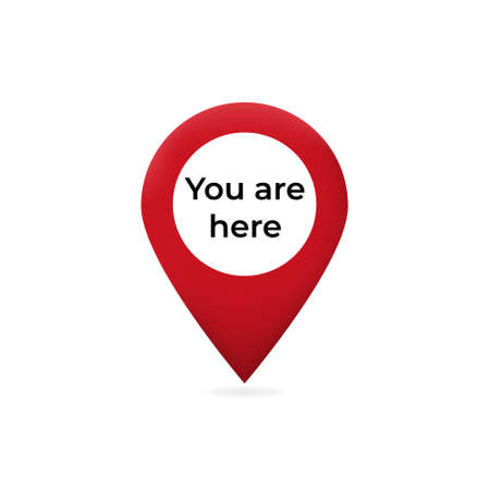 You are here pointer on web map. Red pointer marked graphic sign of travel and location on map navigation destination simple vector arrow rhombus. Ilustrace