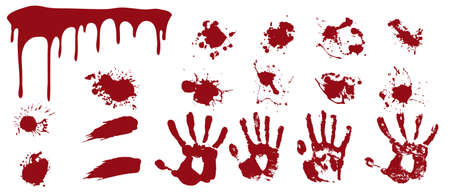 Bloody spray and handprints. Red streaks and smears with human prints spots of death and horror evidence at scene of terrible crime elements of vector bleeding and fear.