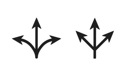 Three way arrows pointers. Symbol of direction and crossed roads road sign of intersection impossibility of making decision confused journey into vector uncertainty.