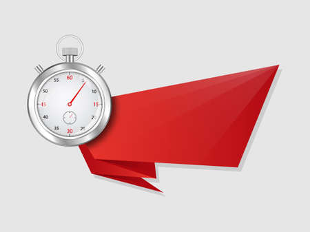 Stopwatch with banner. Red ribbon template with clock symbol for creative advertising decoration specials timer sale or emergency vector delivery form. Ilustrace