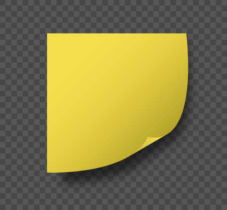 Yellow sticky paper corner curl vector isolated mockup on checked background