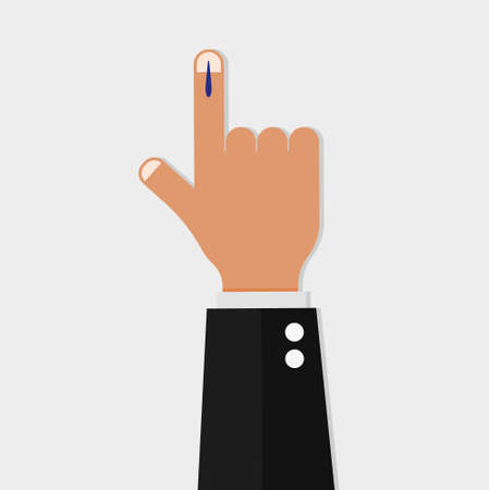 Vote sign in india. Voting hand marked with an index finger national democratic elections patriotic independent support protective confidential ink preventing vector fraud.