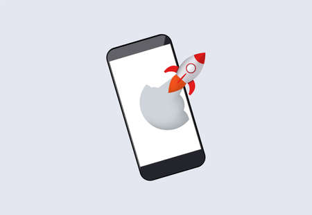 Acceleration of mobile application. Rocket launches from smartphone software enhancement for new tasks new web project takes off from marketing development innovative vector enhancement.