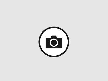 Photo profile icon. Black camera in circle image of digital photography with flash technology equipment for professional correspondents art artists device for inspiration and graphic vector shots.