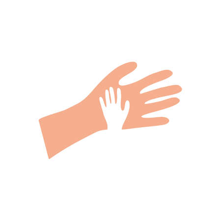 Help hands. Symbol of family friendship big hand holds small one support in partnership and charity social donations saving young generation with informational vector trust.