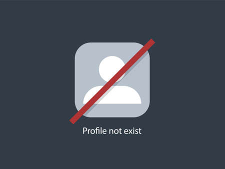 Profile not exist icon. User white contour marked with red line remote avatar erased from memory online graphic line design social media communication and correspondence character vector.