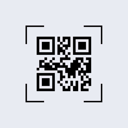 Scan qr code camera view. Capturing digital code with technology of identifying application and goods online barcode information with ability to check and verify web reader on vector smartphone.