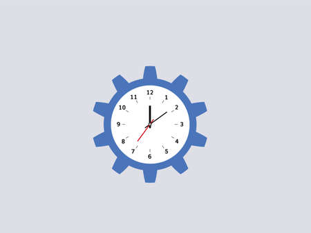 Cogwheel clock. Blue gear circle with dial and hands optimization control mechanism with timer settings technical efficiency and industrial vector information.