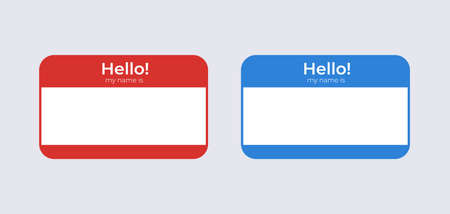 Hello my name is badge template. Identification blue label with name of character attached red badge for presentation banner and conference communication corporate party individual vector greeting.