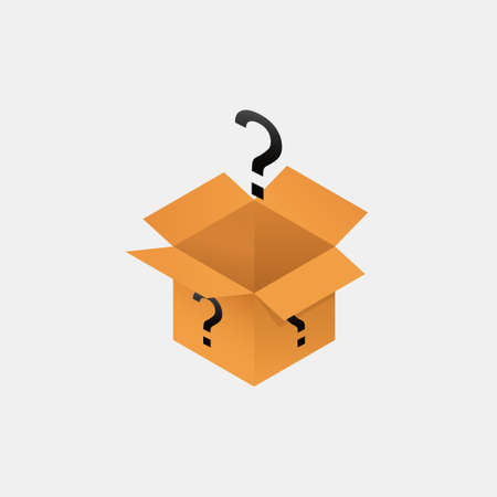 Open secret mystery box isometry. Packaging with yellow cubic question marks unknown package gift help with frequently asked questions mysterious container with vector surprise.