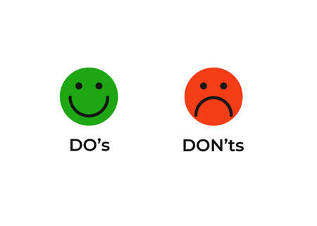 Do and dont smiley icon. Joyful green correct and good event and red negative impact negatory confirmation with tick in circle and negation with cross test works with necessary vector choice. Illustration