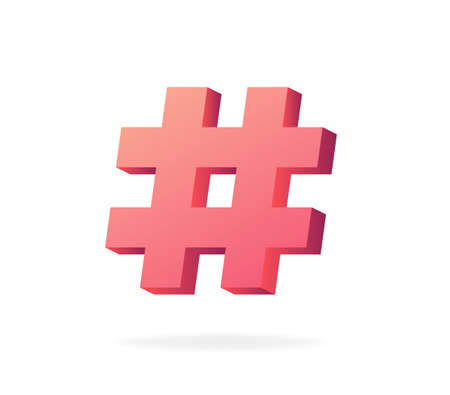 Hashtag 3d. Trending red symbol tag blog and social networks chat message from online community marketing communication and advertising key vector promotion dialogue.