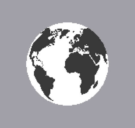 Globe pixel 8 bit . Planet with black and white continents in low graphic resolutionsf natural monochrome in space modern cartographic design of earth vector with retro pixel graphics.