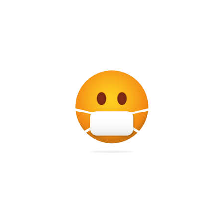 Emoji mask face. Character during coronavirus pandemic protection from epidemic and yellow bacteria proper rescue and prevention for health care prevention of vector diseases. 일러스트