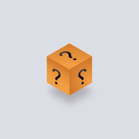 Secret mystical box isometry. Yellow cubic packaging with question marks unknown package gift help with frequently asked questions mysterious container with vector surprise.