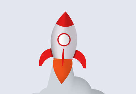 Rocket launch. Spaceship with red flame and stream smoke takes off to top conquest of outer space and interstellar travel new creative project of marketing innovation vector company.