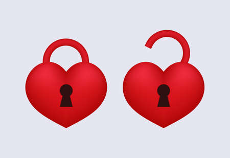 Love lock open and locked. Sign of red romantic security and privacy access to heart affairs holiday decoration for lovers with simple secrets unlock passion and vector emotions.