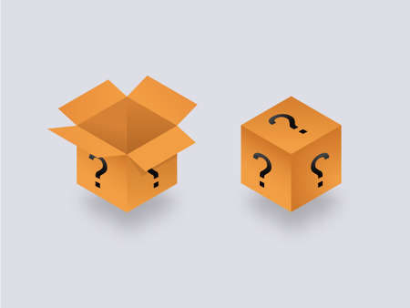 Mysterious secret box open and closed isometry. Cube packaging with yellow question marks unknown package gift help with frequently asked questions mysterious container vector surprise.