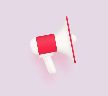 Modern megaphone 3d. Red loudspeake for marketing advertising and promotion presentation new discounts and offers with social broadcasts conversational broadcasts vector information. 일러스트