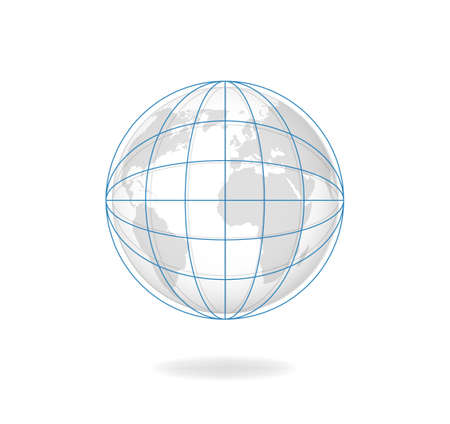Globe meredians vector. Planet covered with blue magnetic lines and curves grid of natural monochrome continents in space modern cartographic design of earth with satellites orbits. 일러스트