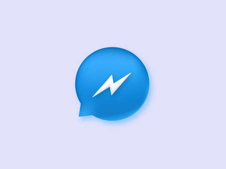 Messenger icon. Blue speech button with white lightning bolt social dialogues in web chat messaging forum discussion of latest news with writing comments stylish vector interface.