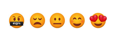 Customer feedback emoticons. Testimonial from each client reaction service from admiration with eyes with hearts to obscene expressions about quality of product emotional vector changes.