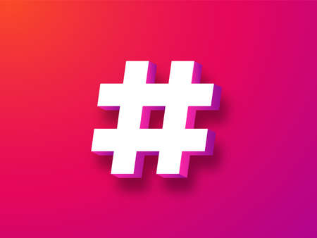 Hashtag symbol 3d. Trending white tag blog on red background and social networks chat message from online community marketing communication dialogue and advertising key vector promotion . 일러스트