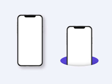 Smartphone whole and in hole template. Empty white screen banner of modern device and half submerged in purple hole mobile phone with realistic modern touch screen and multimedia vector design.