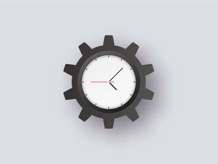 Cogwheel clock big sur. Black gear circle with dial and hands control optimization mechanism with timer settings technical efficiency and industrial vector information.