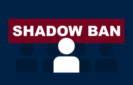 Shadow ban in social networks. Red sign with an abstract character no access to account warning of security restrictions negative sign blocking user unwanted vector information.