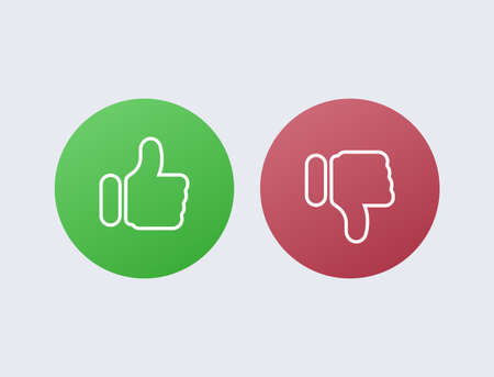Like green and dislike red. Disapproval and success positive negative comments reviews from satisfied customers satisfaction with marketing of service poll user selection online vector stores. 일러스트