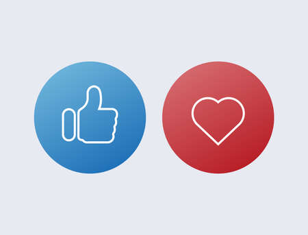 Like thumb up and heart. Red and blue button approval in social networks marketing vote with successful comments super information with mandatory mailing online vector users gesture good excellent. 일러스트