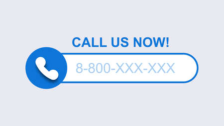 Phone call us now template. Blue mobile call with subscriber number modern digital user connection smartphone graphical interface with conversation recording and blocking unwanted vector person.