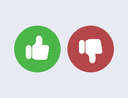 Like and dislike. Red disapproval and green success positive and negative reviews from satisfied customers satisfaction with marketing of service poll user comments selection online vector stores. 일러스트