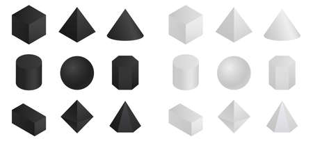 Geometric 3d shapes isometric. Round and pyramidal shapes with polygonal projection in white and black hexagonal and rectangular surface structures with tetrahedral vector faces. 일러스트