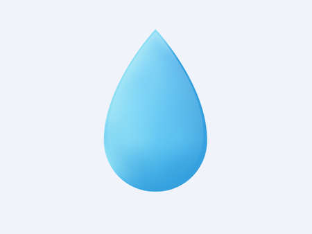 3d water drop isolated. Pure blue liquid teardrop shape transparent freshness close up geometric shape of mineral eco environment reflections with dripping cool vector symbol.
