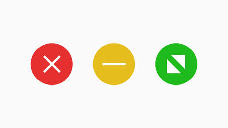 Navigate window   icons. Red cross symbol of cancellation and web connection green with white arrows in different directions yellow with horizontal line user friendly vector electronic interface. 일러스트