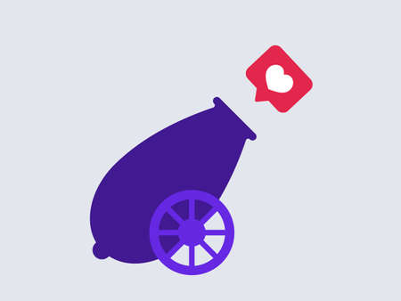 Cannon shoots like. Purple retro cannon shoots heart in red conversation frame social media endorsement of user content and general information consent to shown vector files