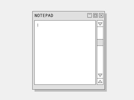 Computer notepad. Retro web notebook for notes and text blank screen with scroll cursors user friendly old interface informational vector notes and graphic drawing. 일러스트