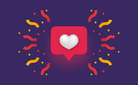Like 3d social network. Red fireworks with yellow serpentine white heart modern smm online communication in applications and web communities approval of user comments with vector point of view.