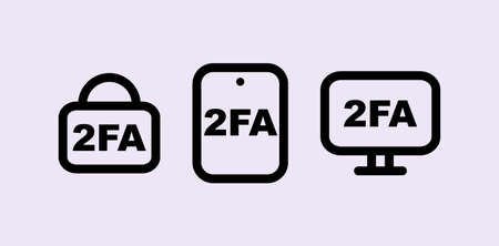 Two factor authentication icon. Black secure user identification with password from various gadgets vector access authorization.