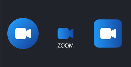Zoom camera icons. Remote blue teleconference and communication remote work web conversation meetings and online vector training. Ilustração