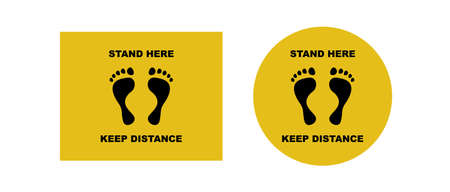 Foot prints with warning to keep your distance. Yellow call stand here and observe required distance during vector coronavirus pandemic. Ilustração