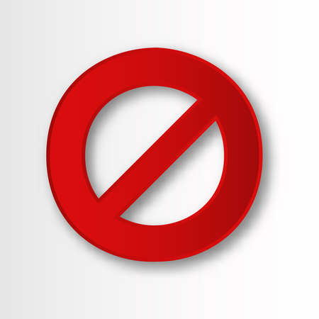 Banned circle with line. Red rounded prohibition sign with warning danger limitation and impossibility attention of vector use.