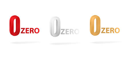 Colored zeros on white background. Red marketing symbol with gold quality emblem and limited commercial vector discounts.