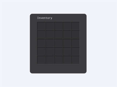 Frame with cells inventory for mobile games template. User interface of RPG application for storing things and vector resources. Ilustração