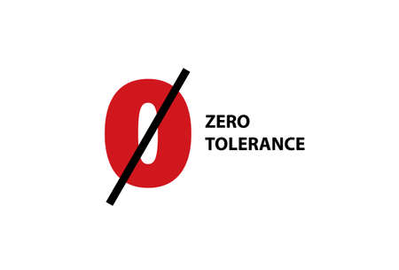 Zero tolerance clipart. Red symbol discrimination crossed out with black line violence and harassment lack of tolerance and social laws vector.