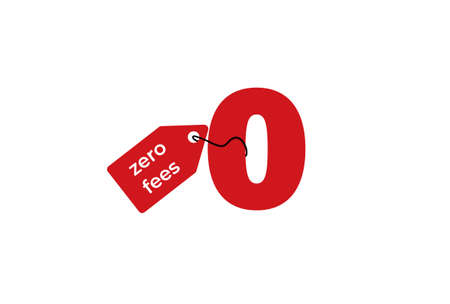 Zero fees clipart. Red marketing and giveaway symbol with special business offer and no credit duty vector.